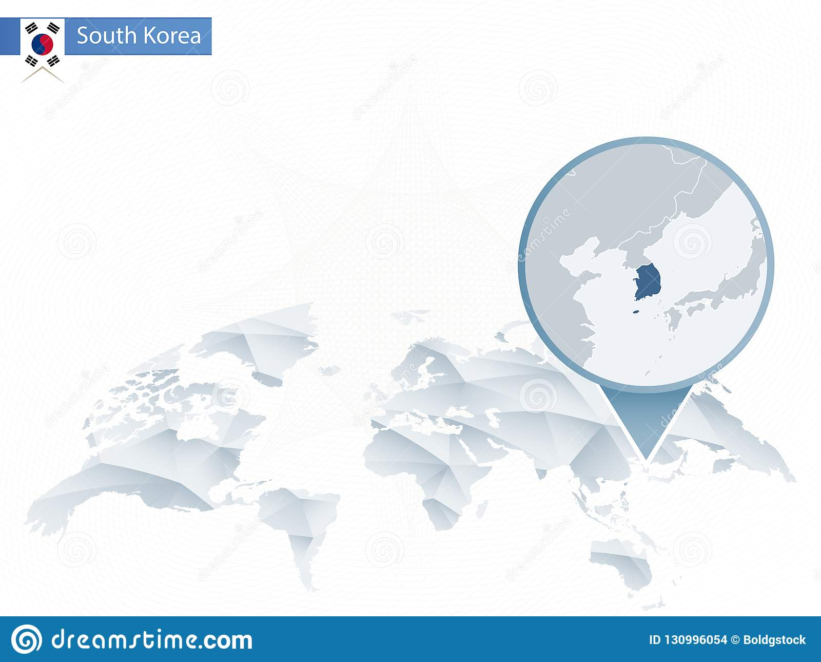 South Korea In World Map.Abstract Rounded World Map With Pinned Detailed South Korea Map