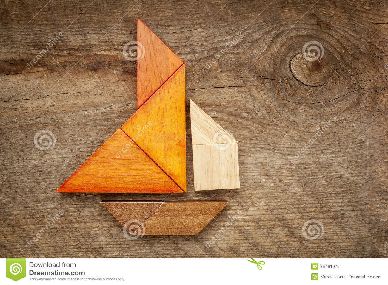 Abstract Sailboat From Tangram Puzzle Stock Photo - Image: 35461070