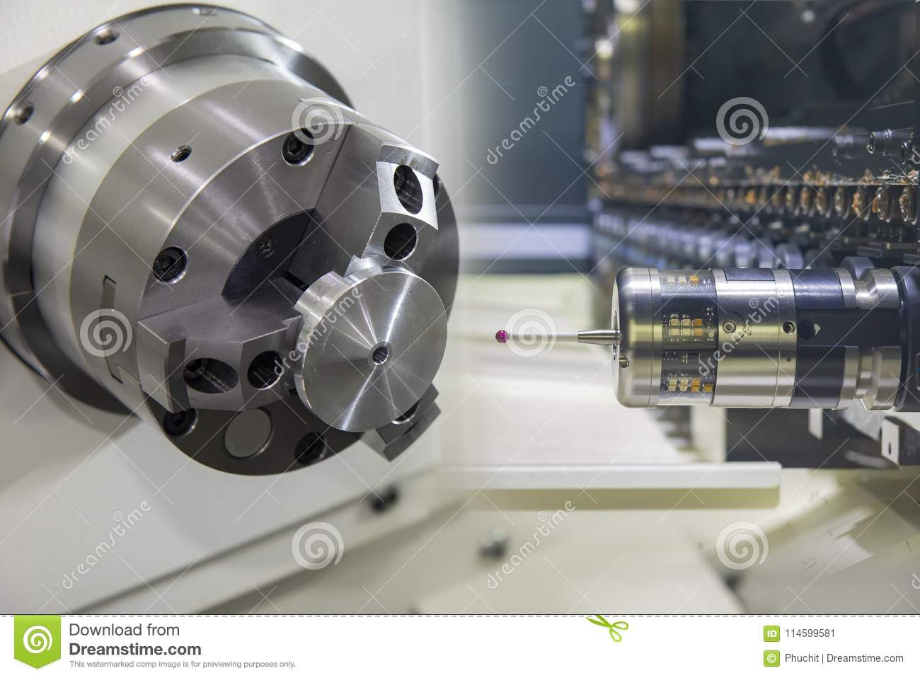 Abstract Scene Of The CNC Turning Or Lathe Machine Stock Image ...