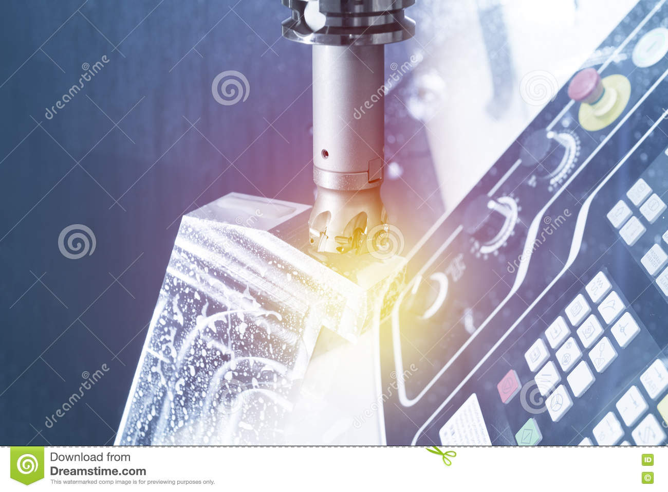 Abstract Scene Of The Face Milling Tool Stock Image Metal Lighting Diagram