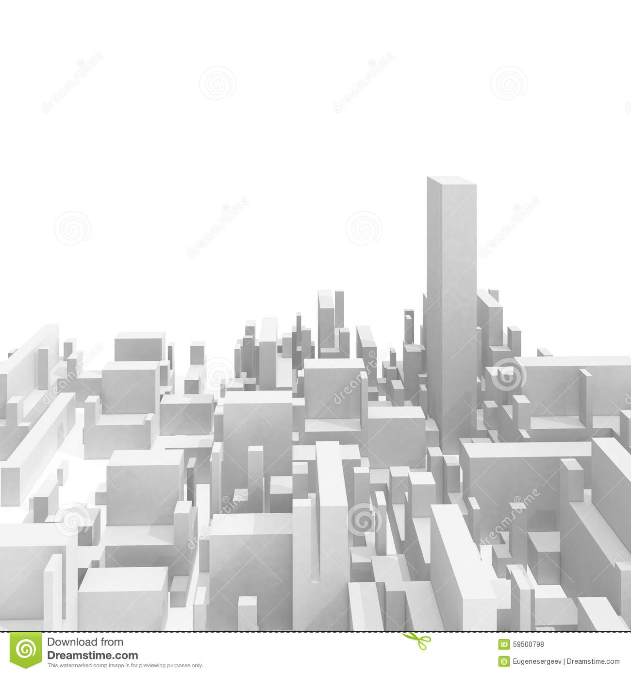 Abstract schematic white 3d cityscape skyline
