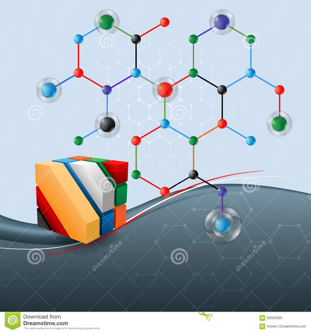 abstract science background with three dimensions cube