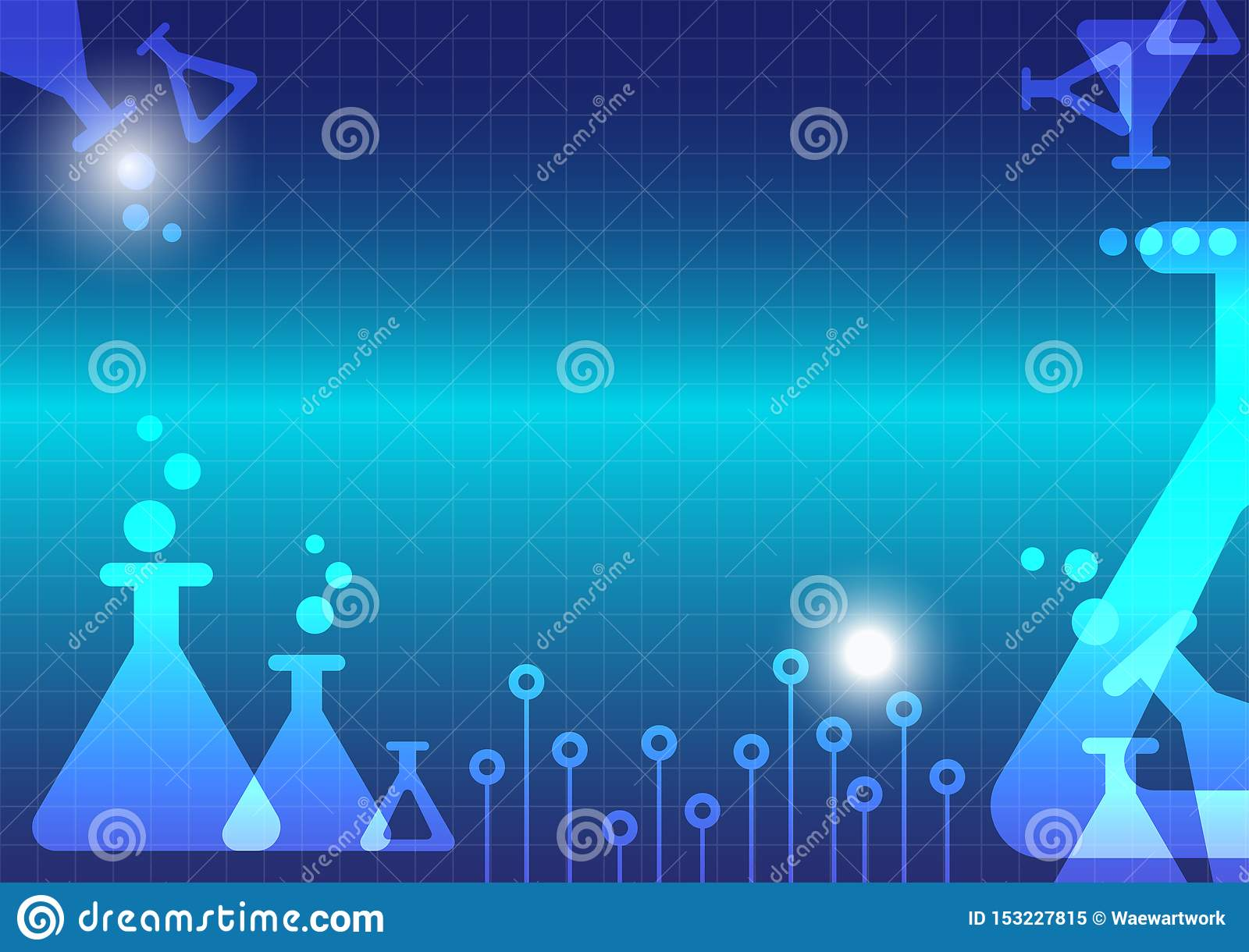Abstract science experiment erlenmeyer flask background