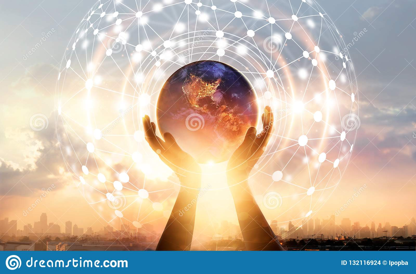 Abstract science. Hands touching earth and circle global network