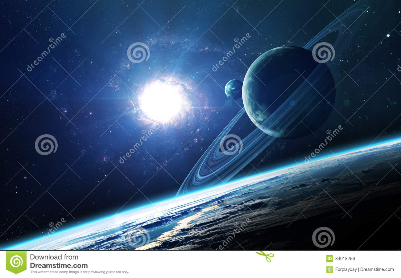 Abstract scientific background - planets in space, nebula and stars. Elements of this image furnished by NASA nasa. gov
