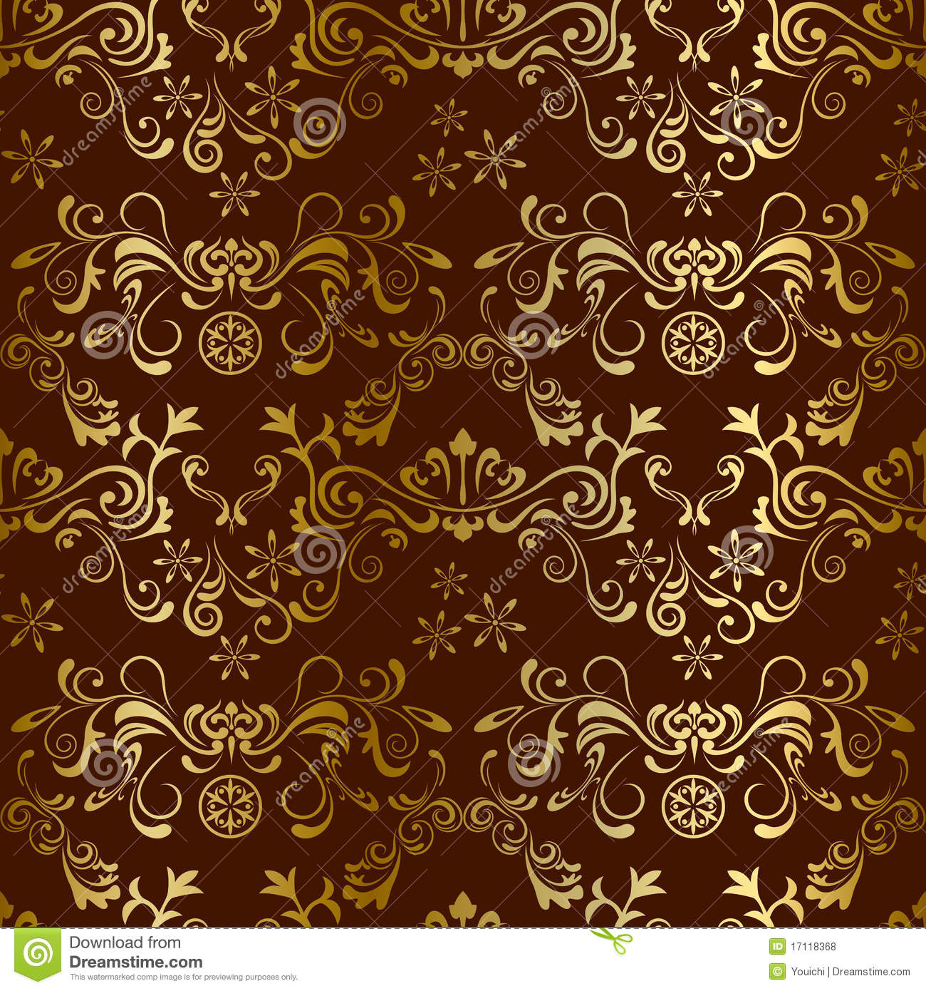 Abstract Seamless Floral Brown Pattern Royalty Free Stock