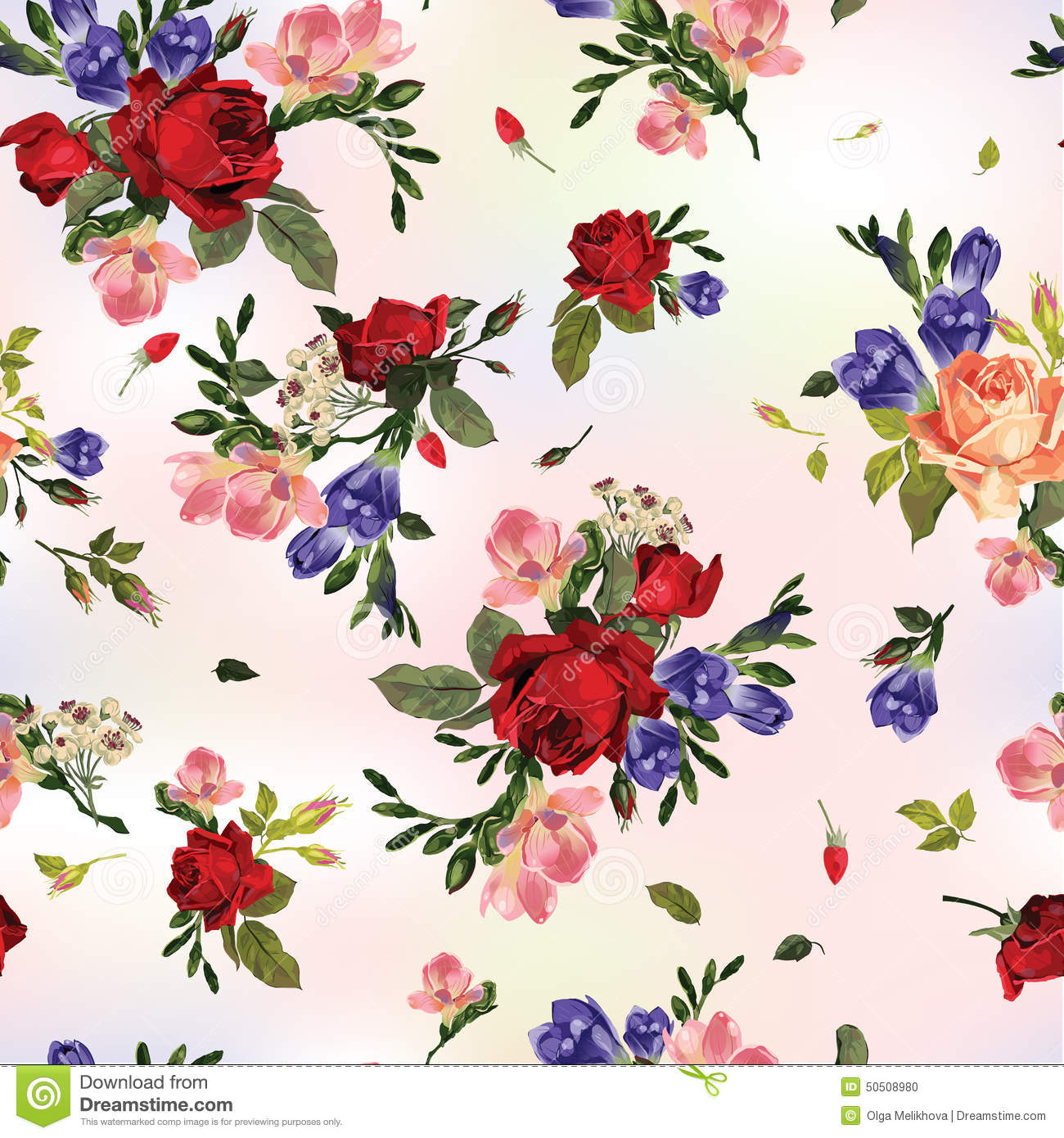 Abstract seamless floral pattern with red roses and pink and blu