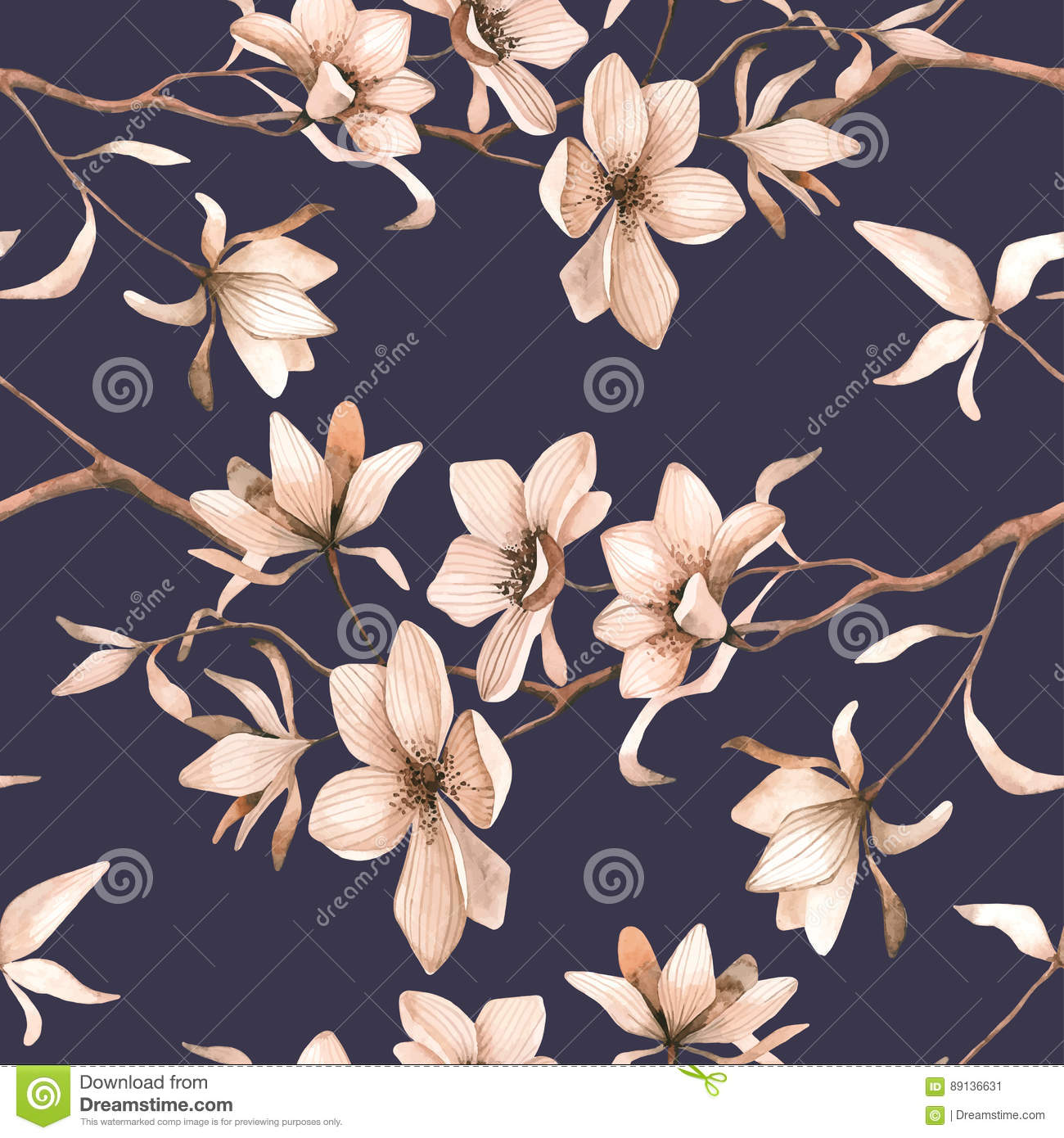 Abstract seamless floral pattern with of red roses and pink and blue freesia on black background.