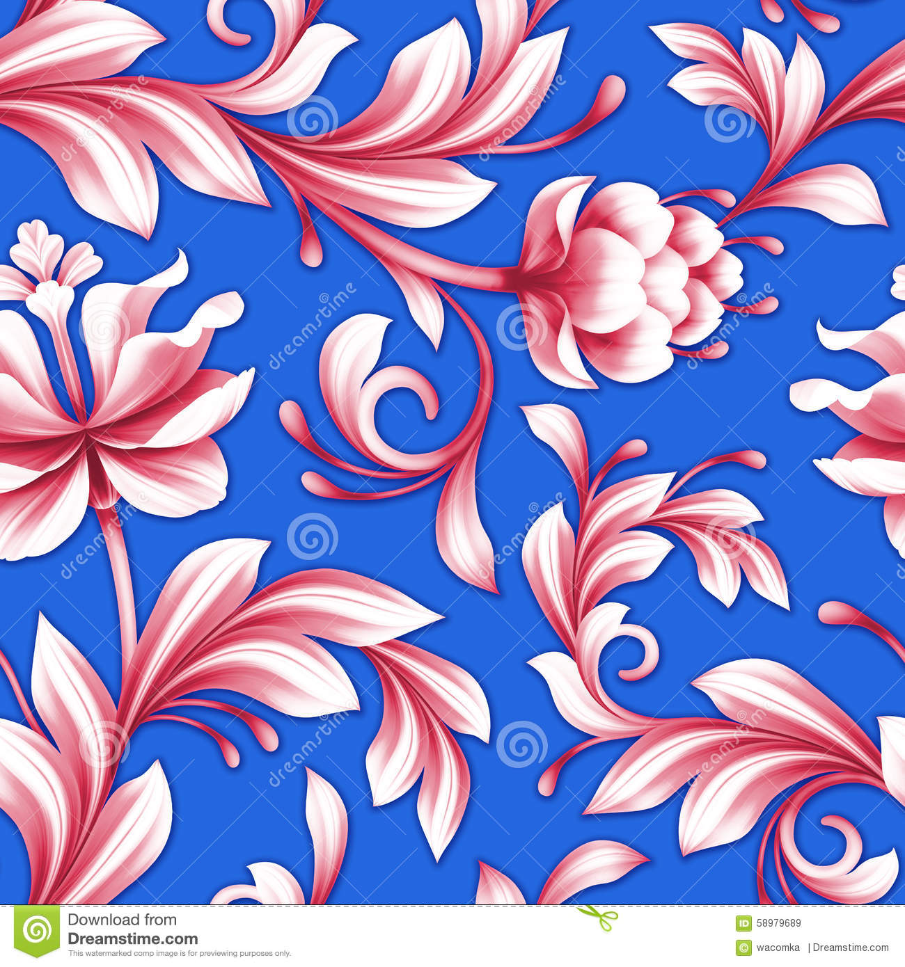 Abstract Seamless Floral Pattern Red And Royal Blue Flowers
