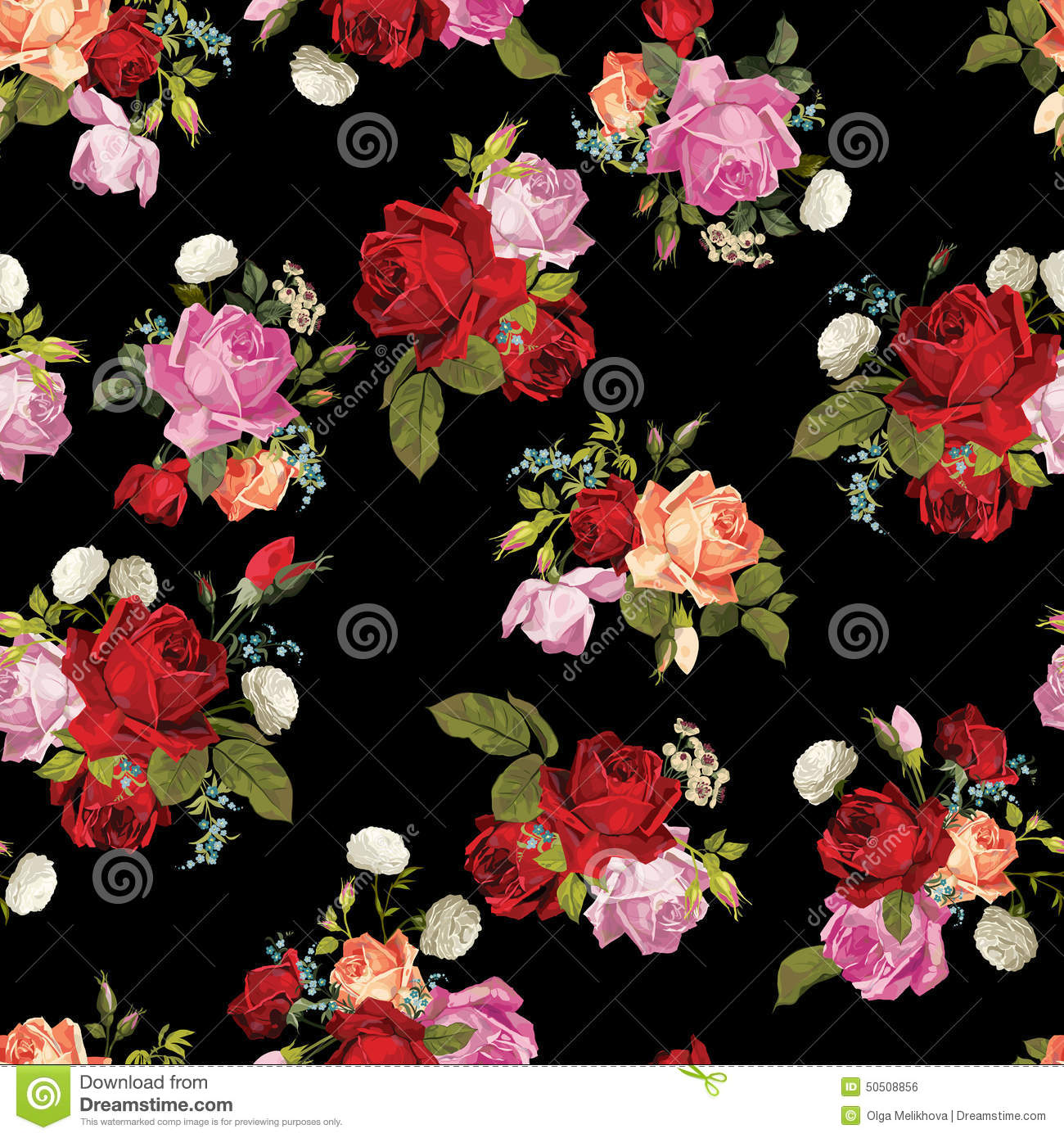 Abstract Seamless Floral Pattern With White Pink Red And Orange