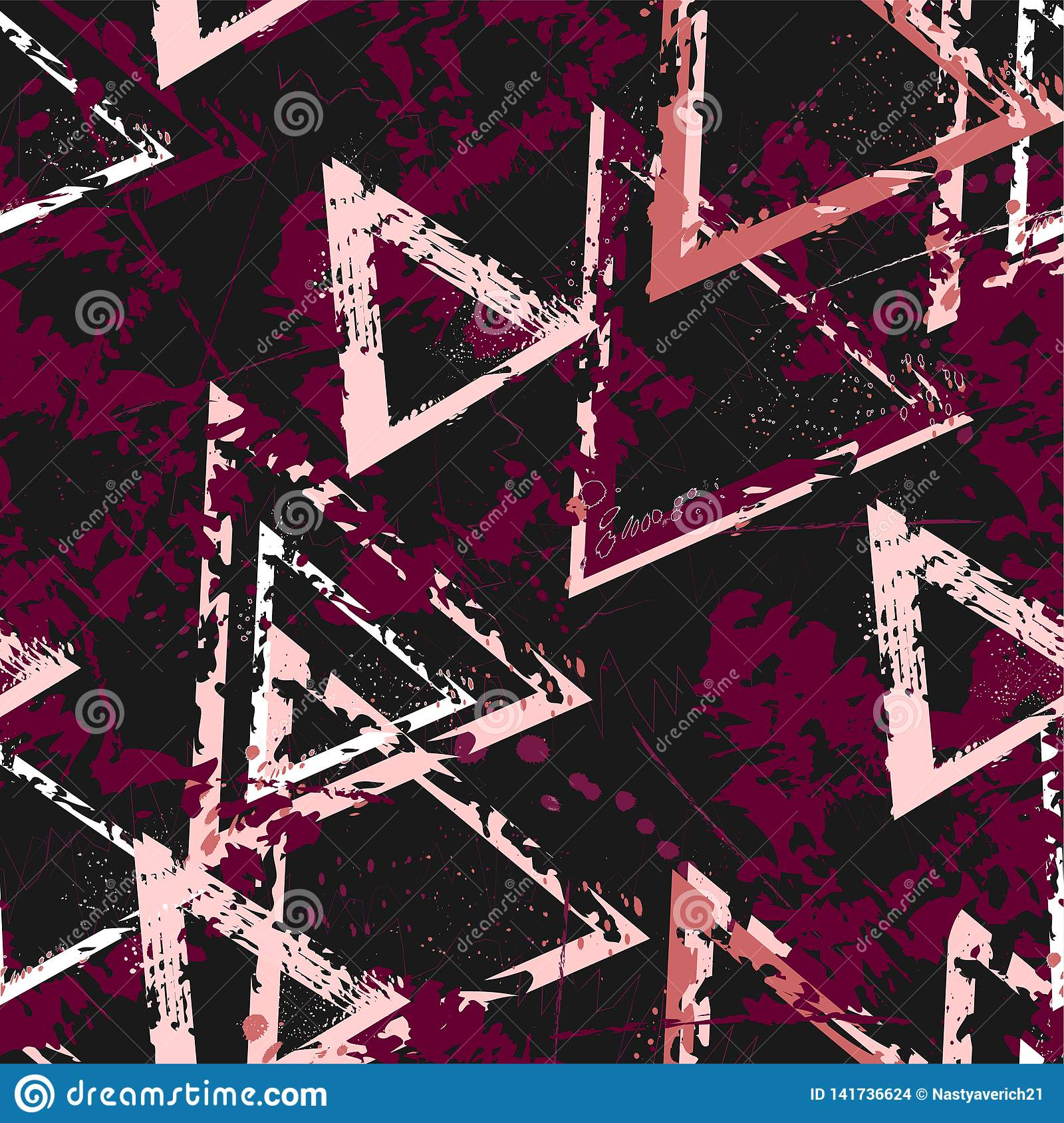 Abstract seamless geometric background with cracked texture. Grunge pattern for boys, girls, sport, fashion. Urban colorful wallpa