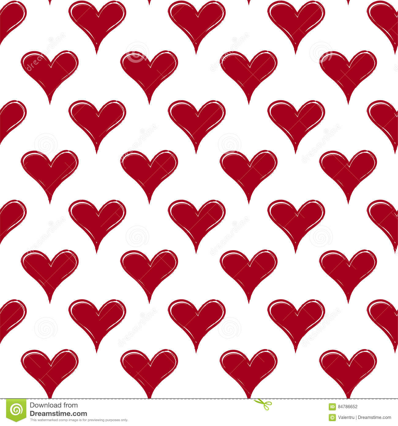 Valentines Day Seamless Hand Draw Hearts Pattern Stock Vector