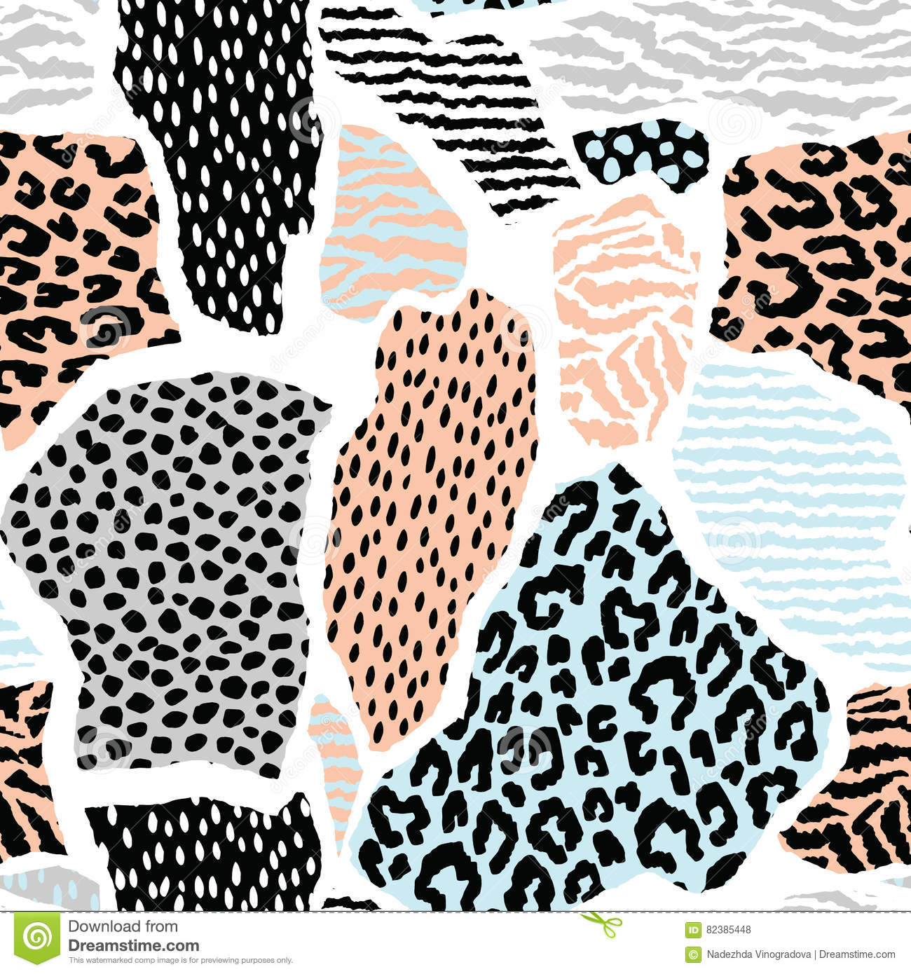 Abstract Seamless Pattern With Animal Print. Trendy Hand