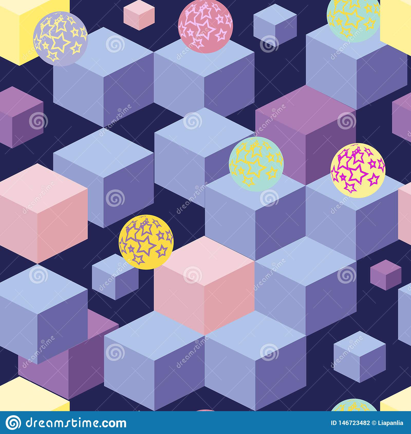 Abstract seamless pattern with blue cubes