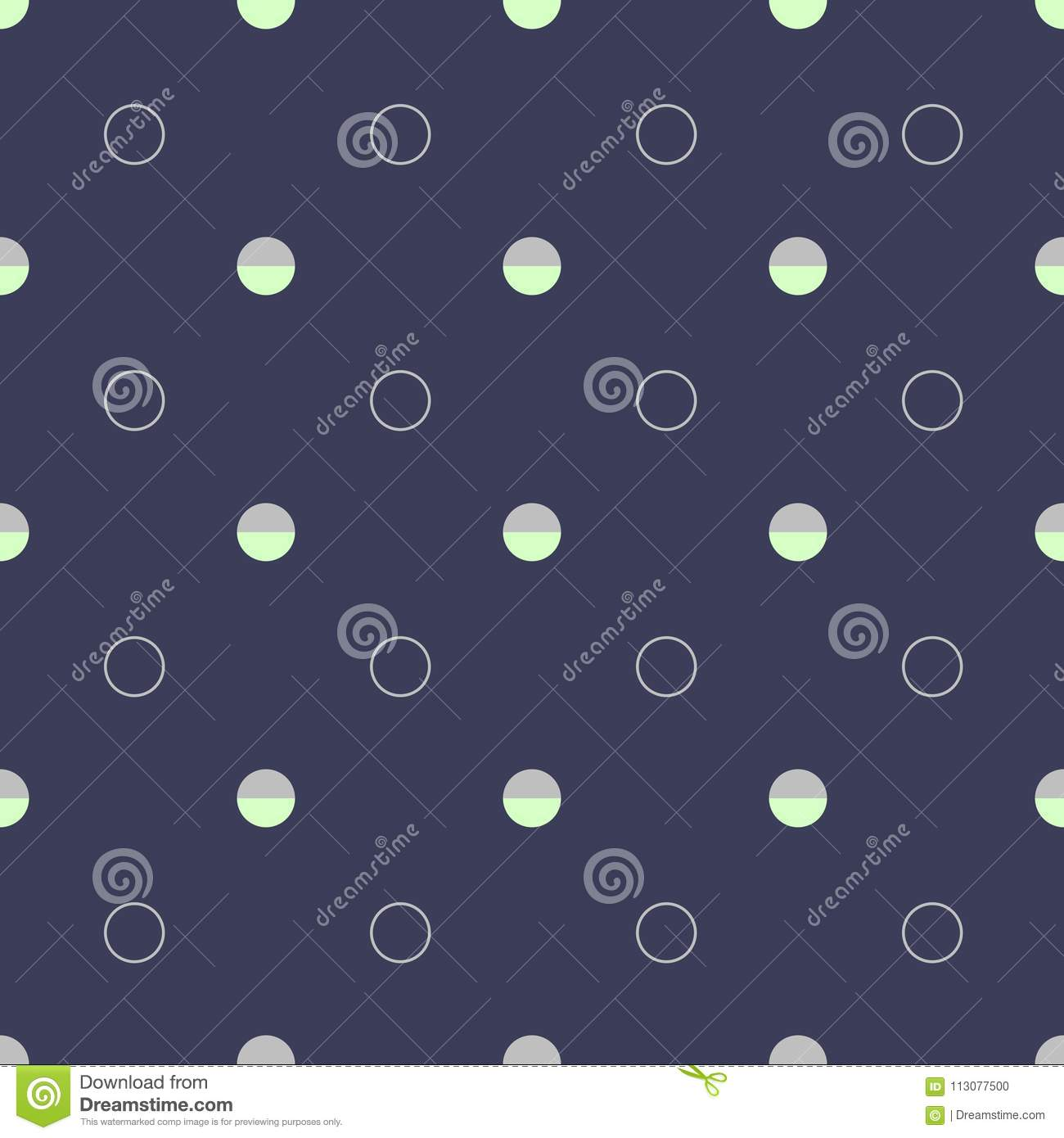 Abstract seamless pattern with circles on dark blue background.