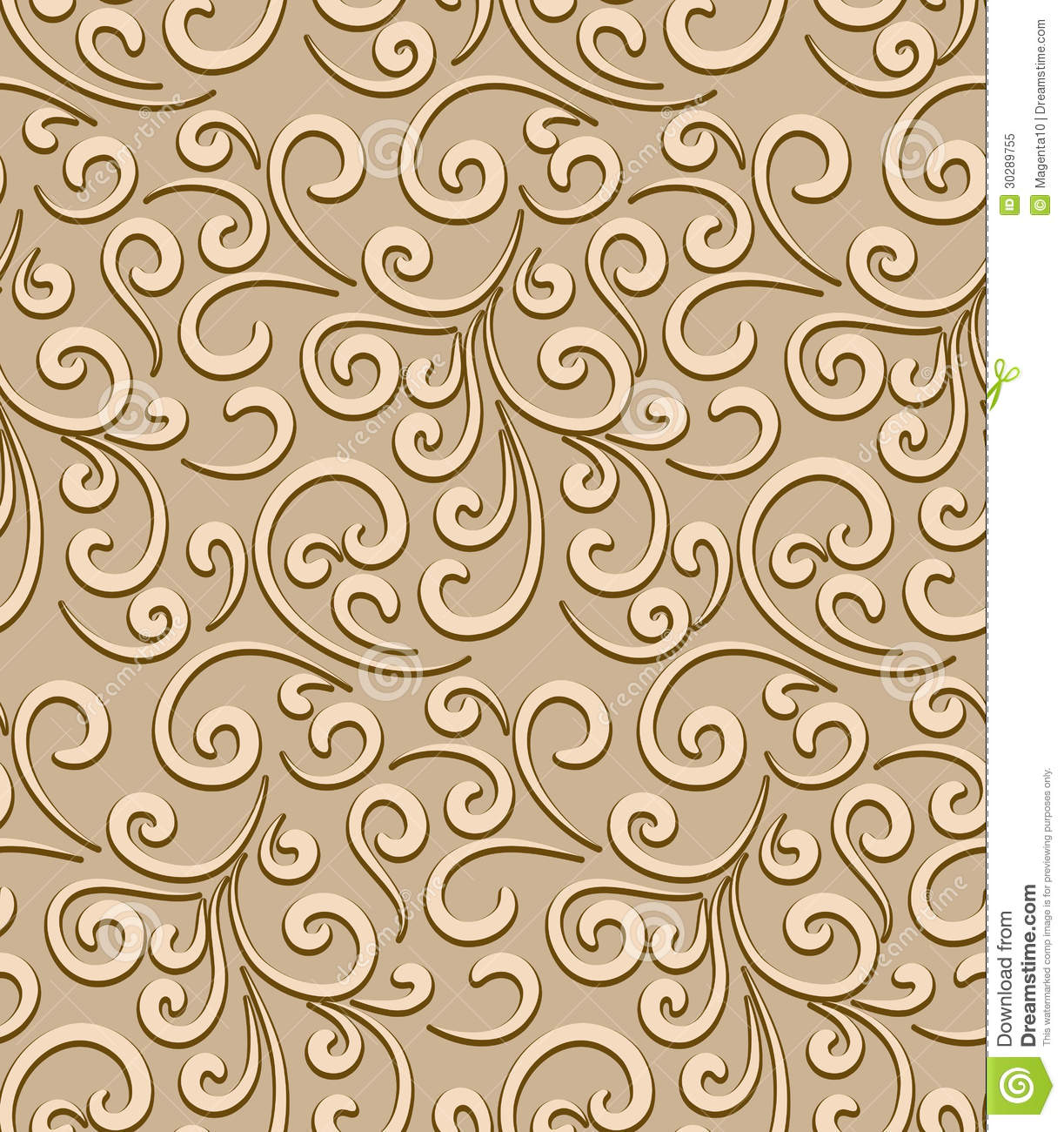 Abstract seamless pattern, decorative floral swirls, vintage gold ...