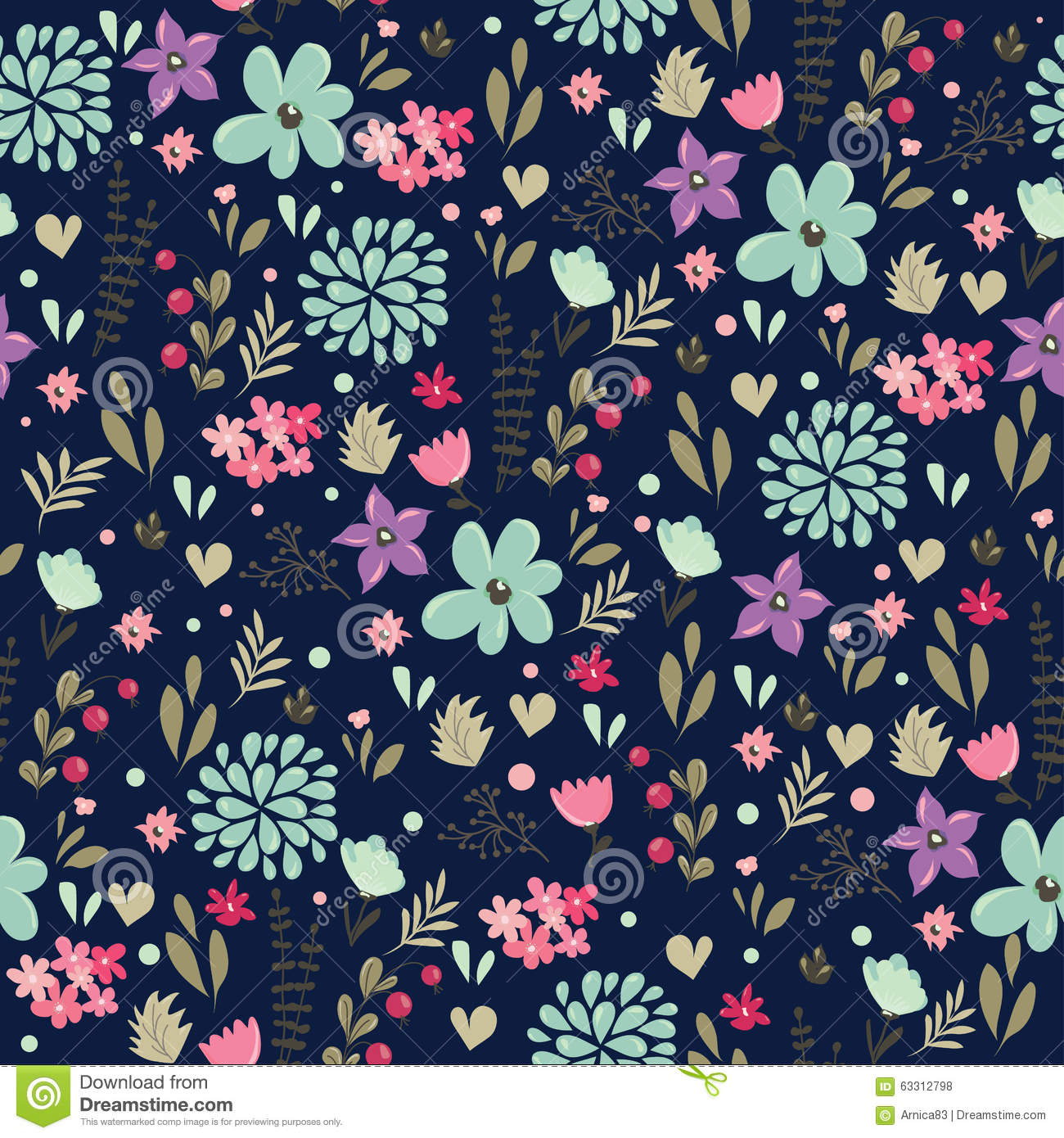 Abstract Seamless Pattern With Floral Background Stock Vector