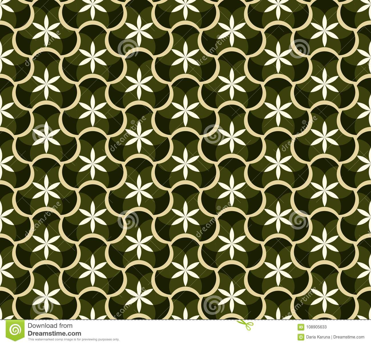 Abstract Seamless Pattern With Floral Patterns. Geometric Mosaic ...