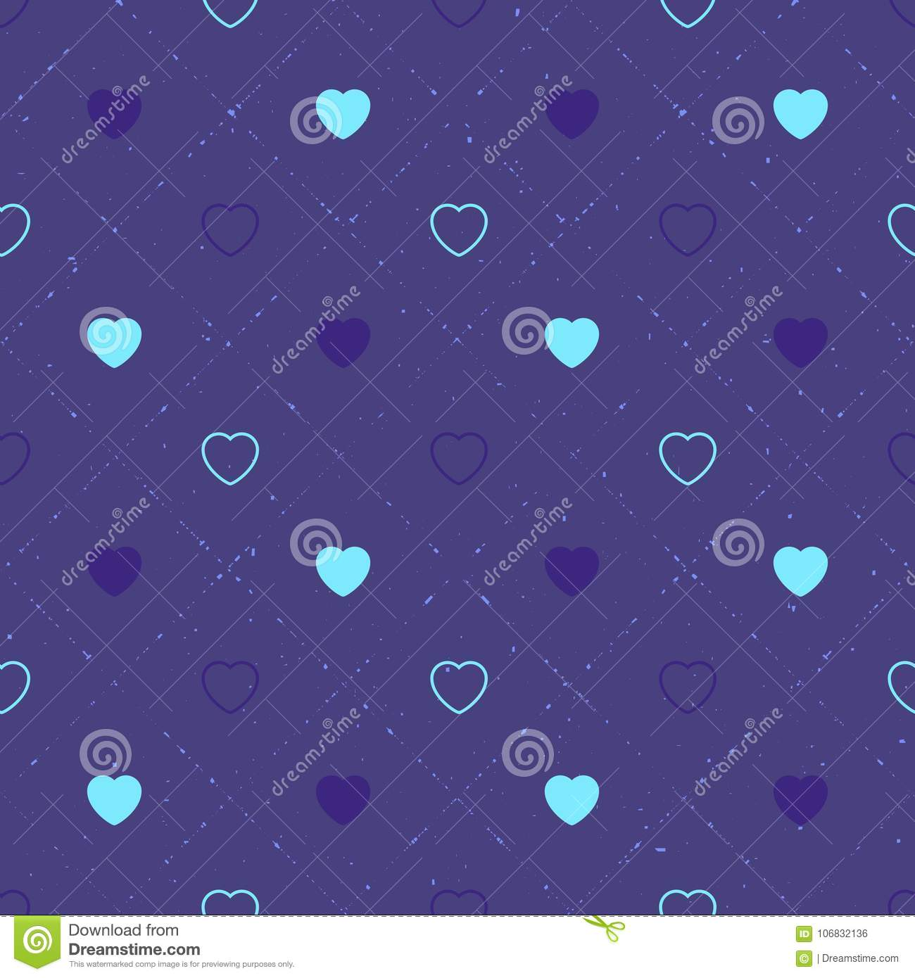 Abstract seamless pattern with hearts. Valetines day, birthday or girlish design