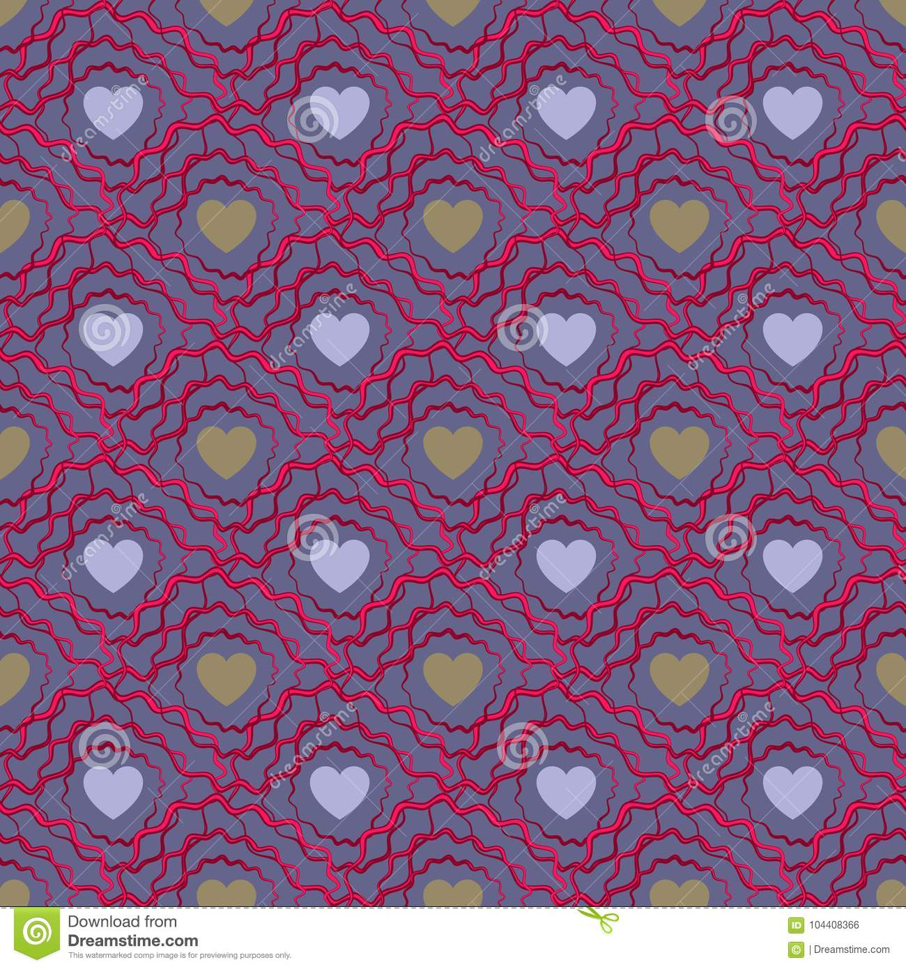 Abstract seamless pattern with hearts. Valetines day or girlish