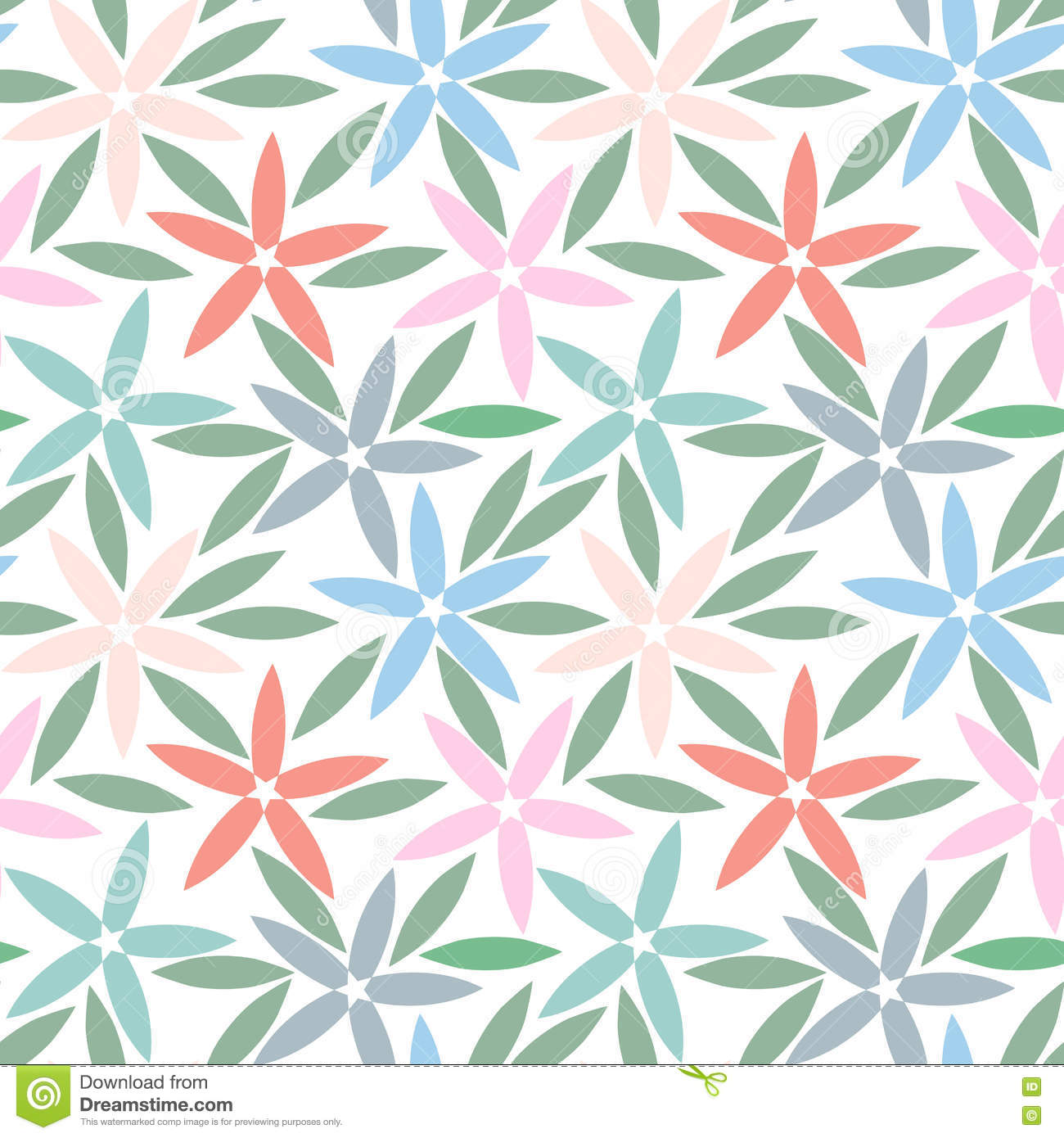 Abstract Seamless Pattern With Simple Flowers Floral Wallpaper Cute And Leaves Ornate Petal