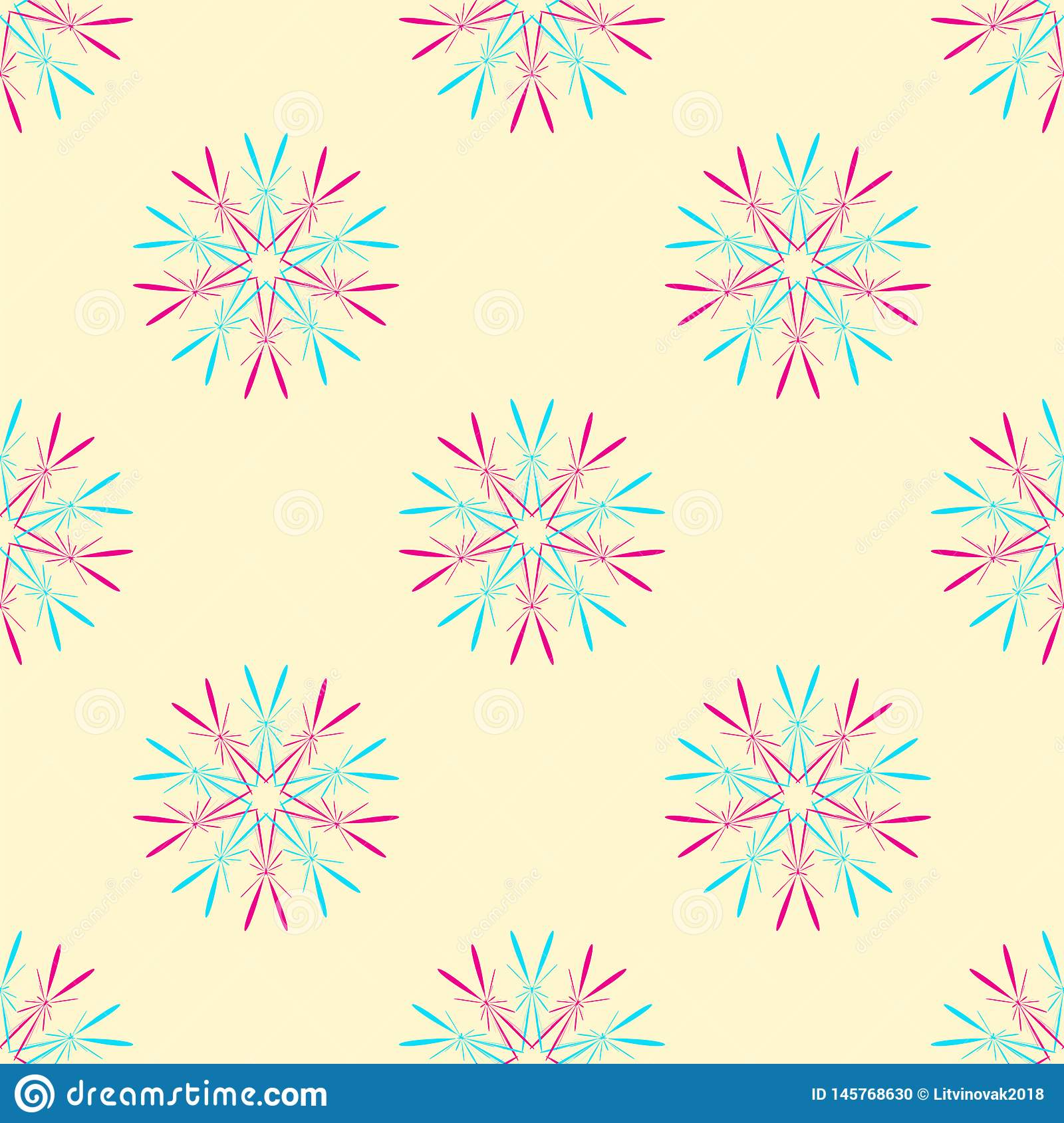 Abstract seamless pattern with stars. Colorful vector illustration