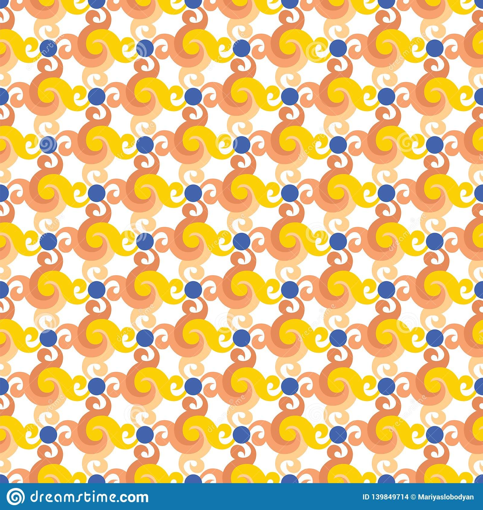 Abstract seamless pattern with swirls or twist, leaves and blue dots.