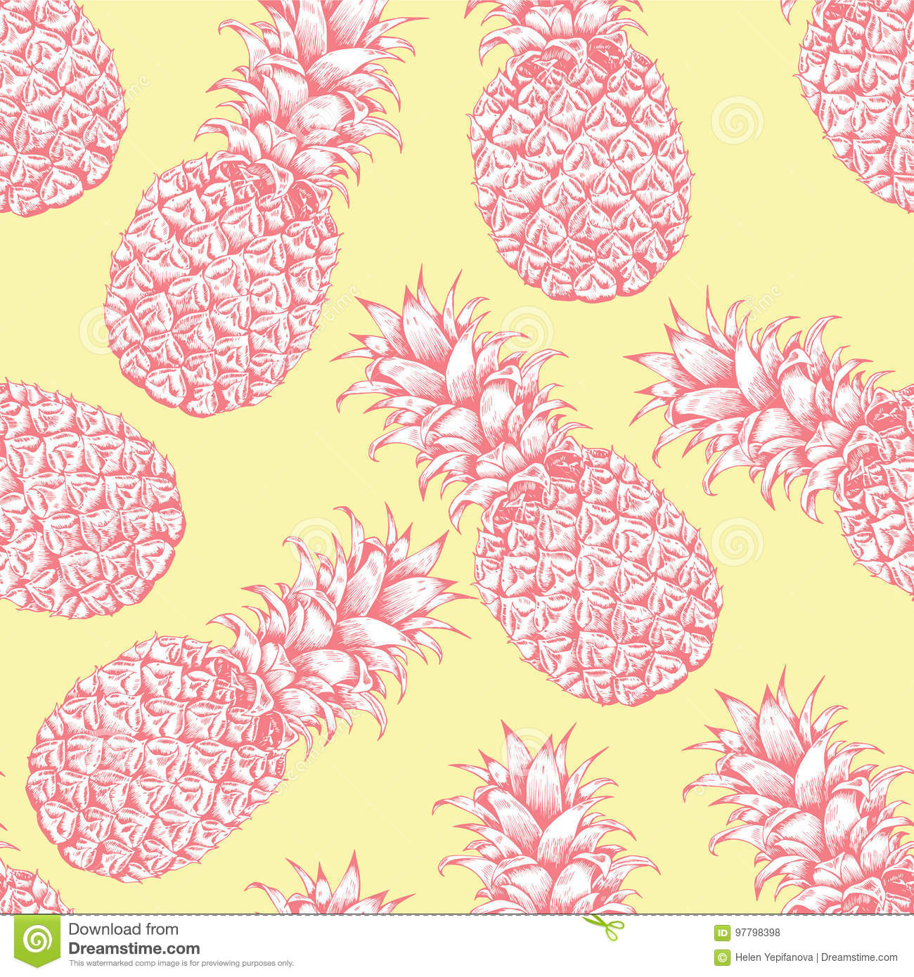Abstract seamless pattern, wallpaper, background, backdrop Pink yellow white hand drawn pineapple.