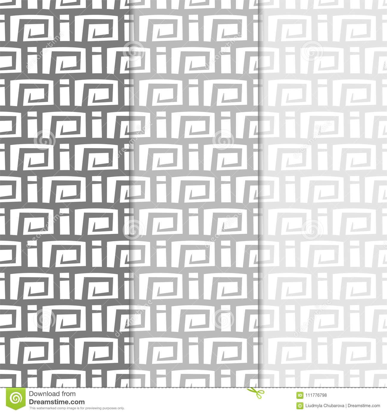 Abstract seamless patterns. Black and white monochrome backgrounds for textile and fabrics