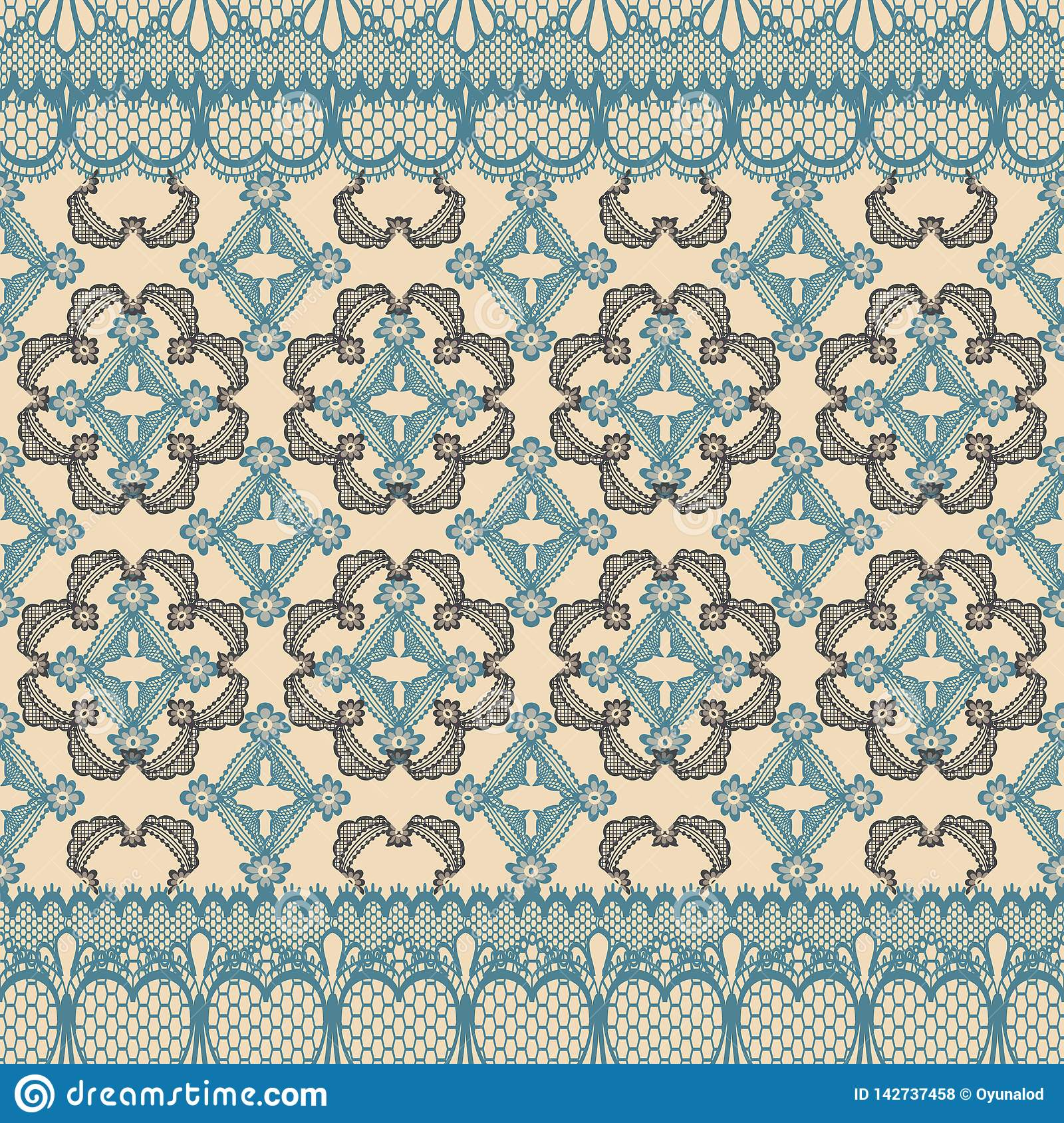 Abstract seamless repeat pattern illustration of lacy leaves, florals and hearts in geometric layout.