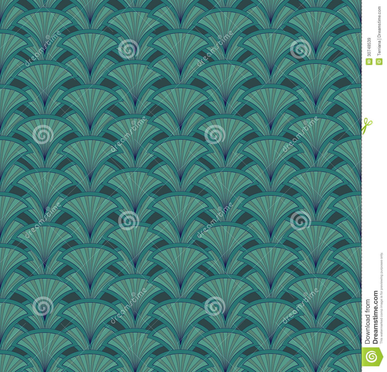 Abstract seamless retro pattern. Green floral back