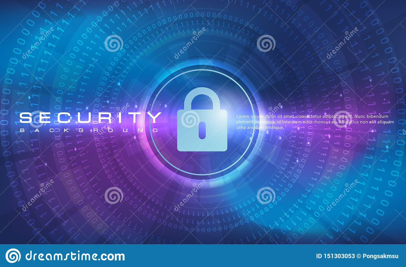 Abstract security technology banner blue purple background concept with line and binary code effects technology, blue background