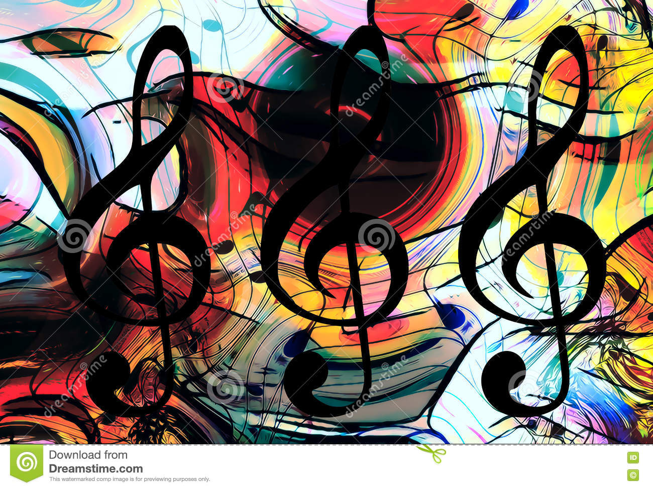 Abstract Music Notes Art: Abstract Set Of Music Clefs And Lines With Notes, Music