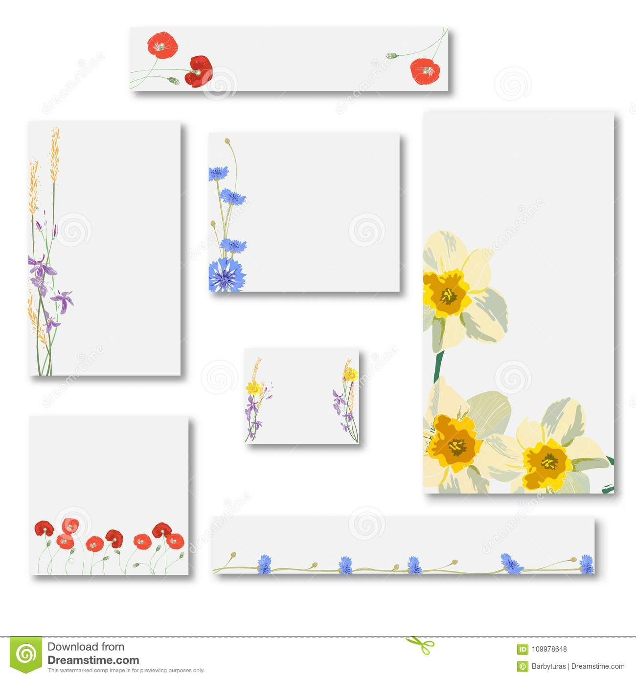 Abstract set of web banner templates with floral background for download abstract set of web banner templates with floral background for headers of websites stock illustration maxwellsz