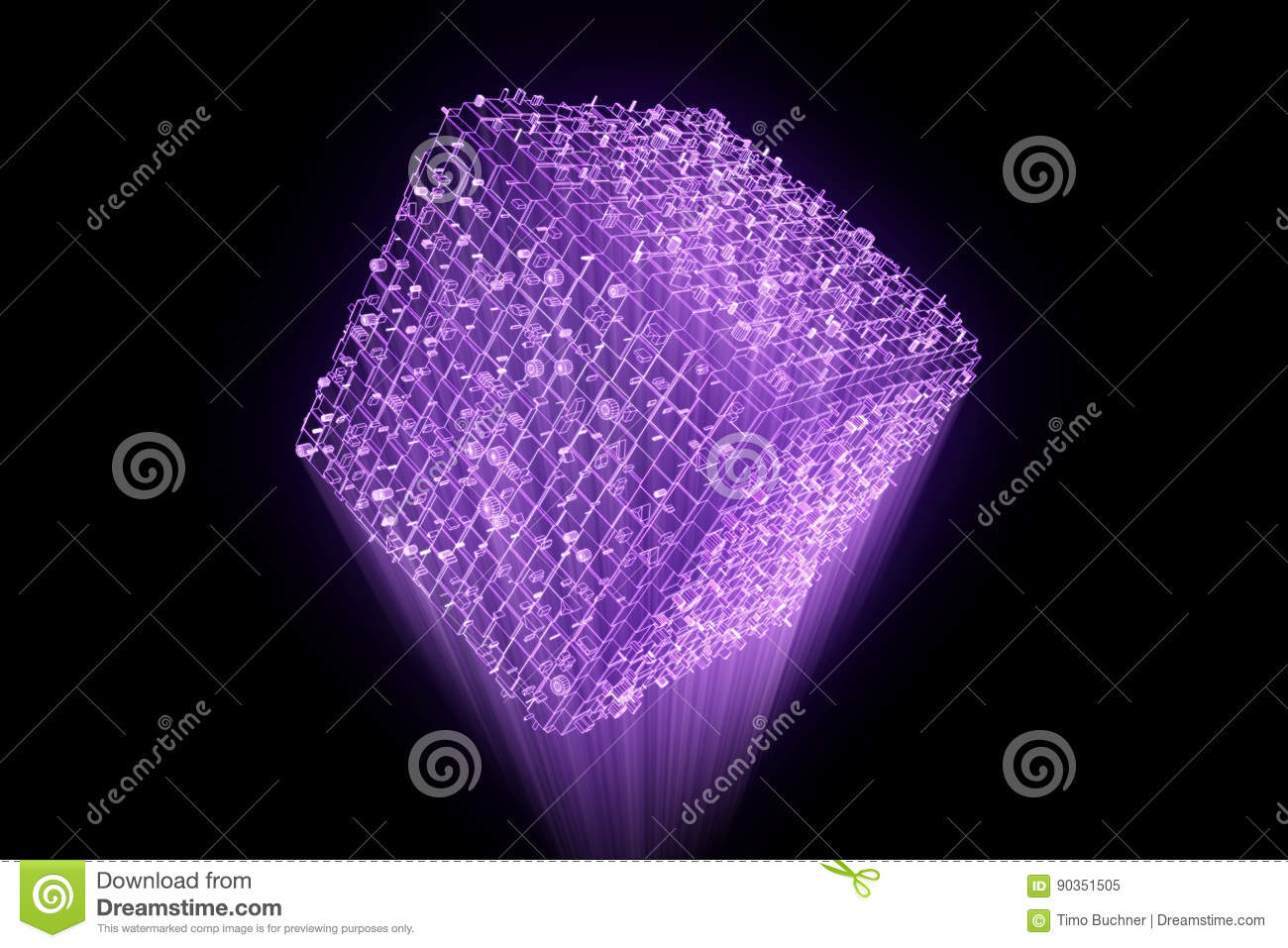Abstract Shape Element In Wireframe Hologram Style  Nice 3D