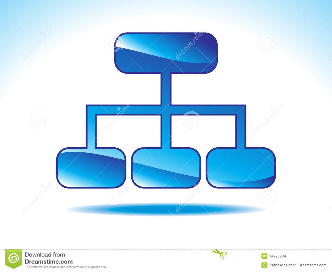 Abstract shiny blue sitemap icon