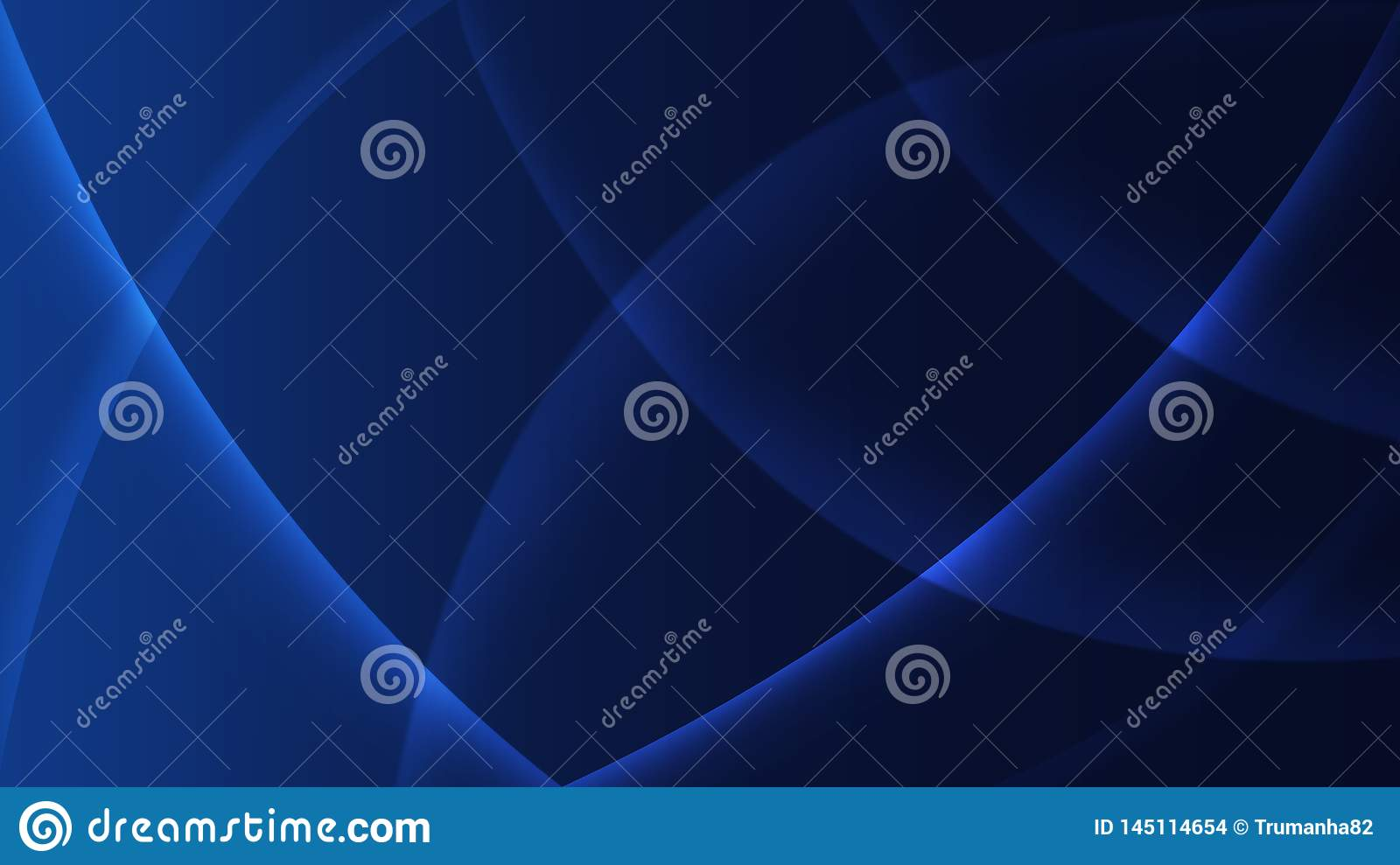Abstract Shiny Curves in Blurred Dark Blue Background