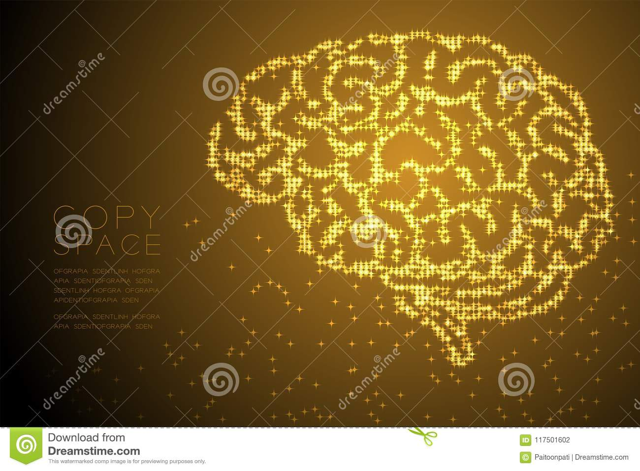 abstract shiny star pattern brain side view shape, creative science concept  design gold color illustration