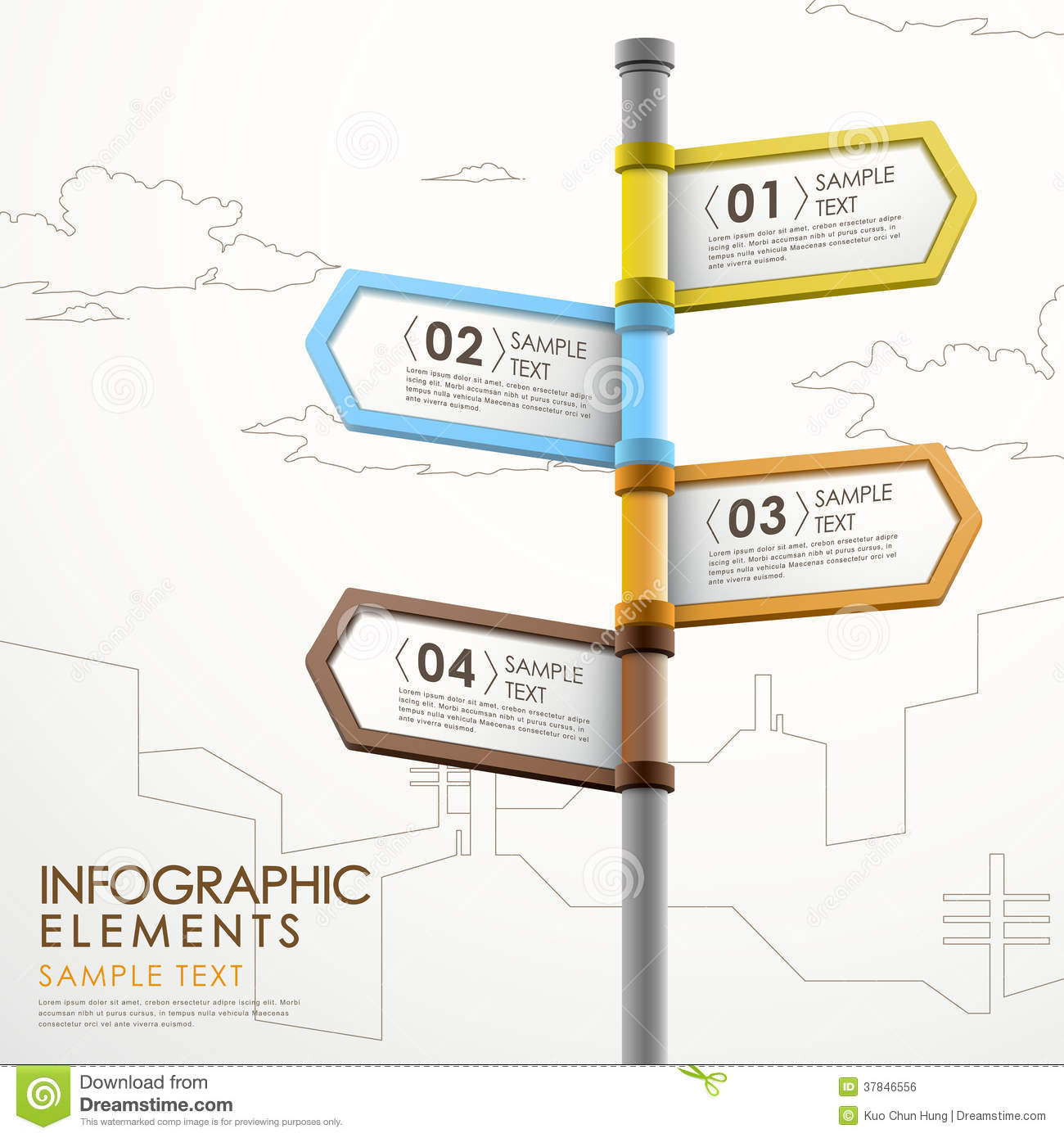 abstract 3d signpost infographic design template stock photo