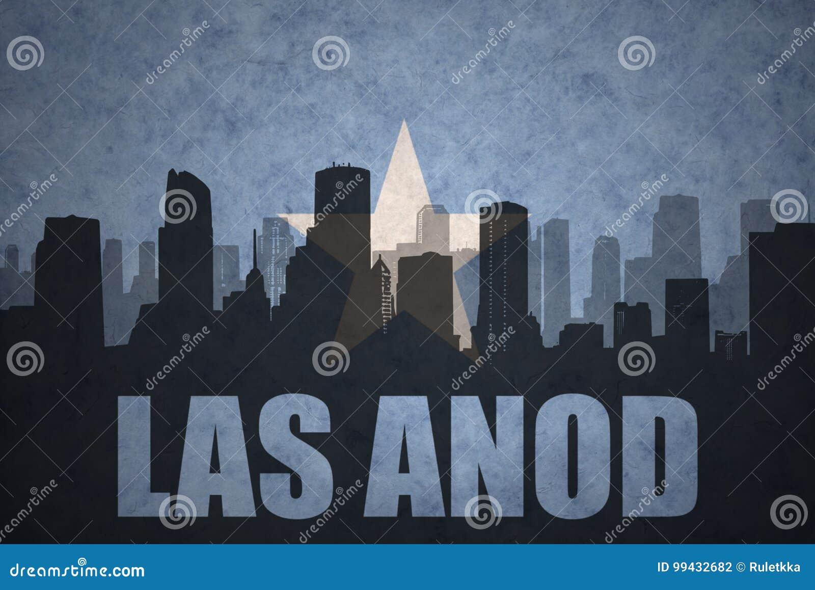 Abstract silhouet van de stad met tekst Las Anod bij de uitstekende vlag van Somalië