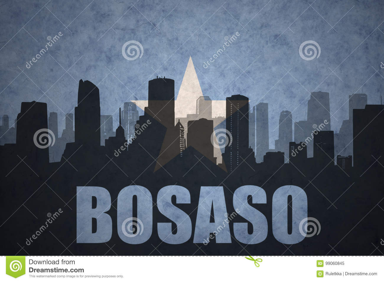 Abstract Silhouette Of The City With Text Bosaso At The