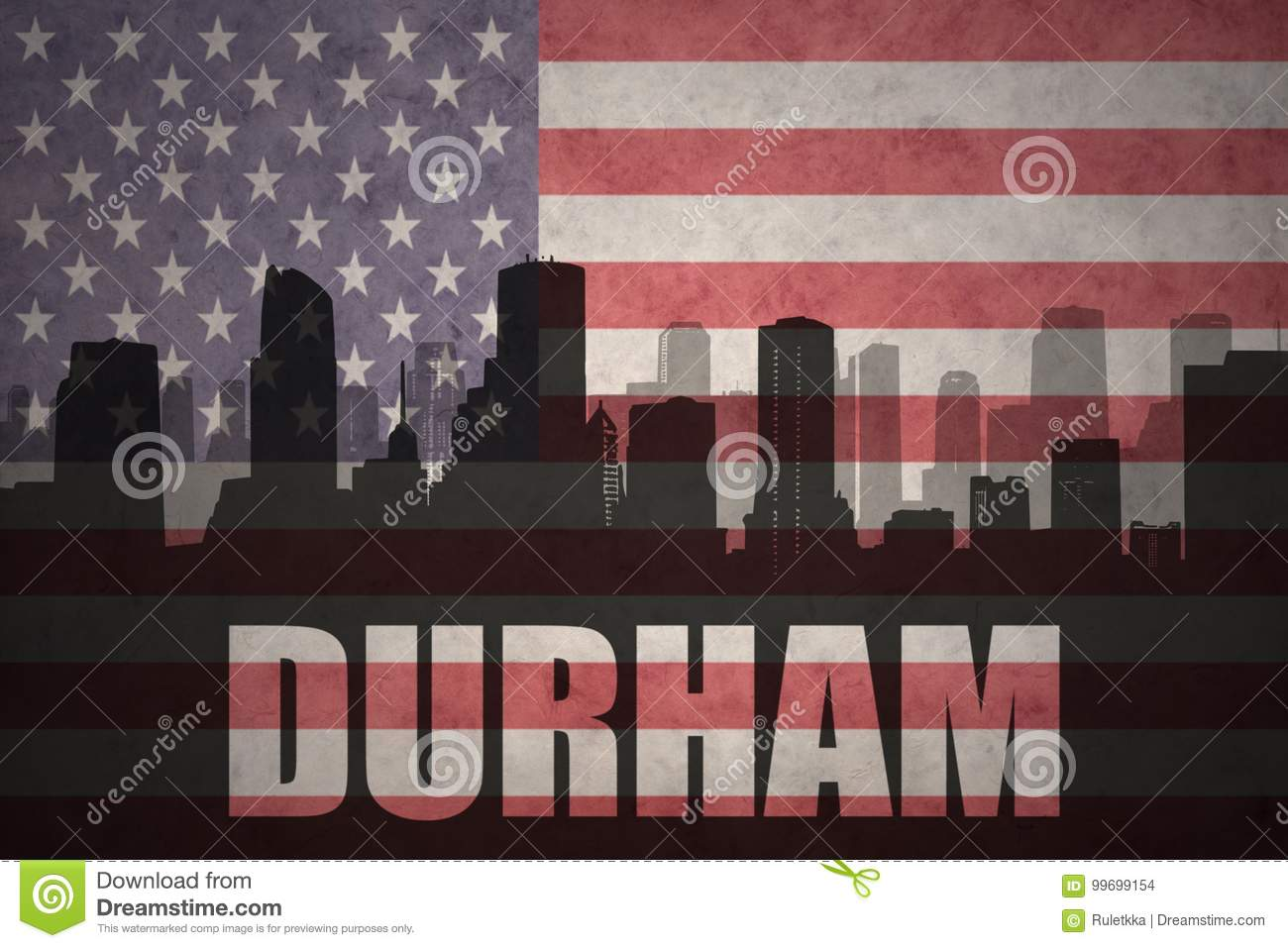 Abstract silhouette of the city with text Durham at the vintage american flag
