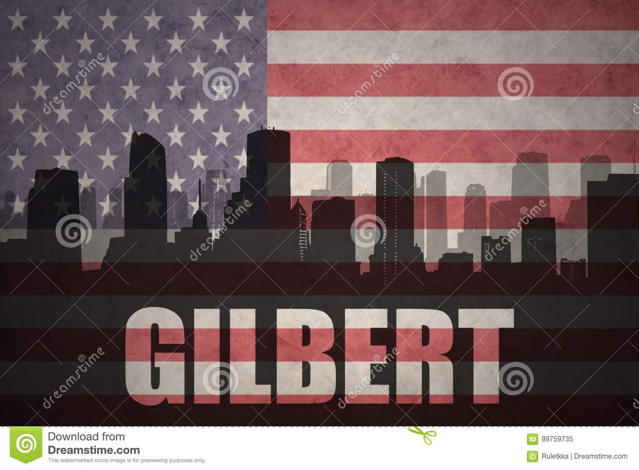 Abstract silhouette of the city with text Gilbert at the vintage american flag