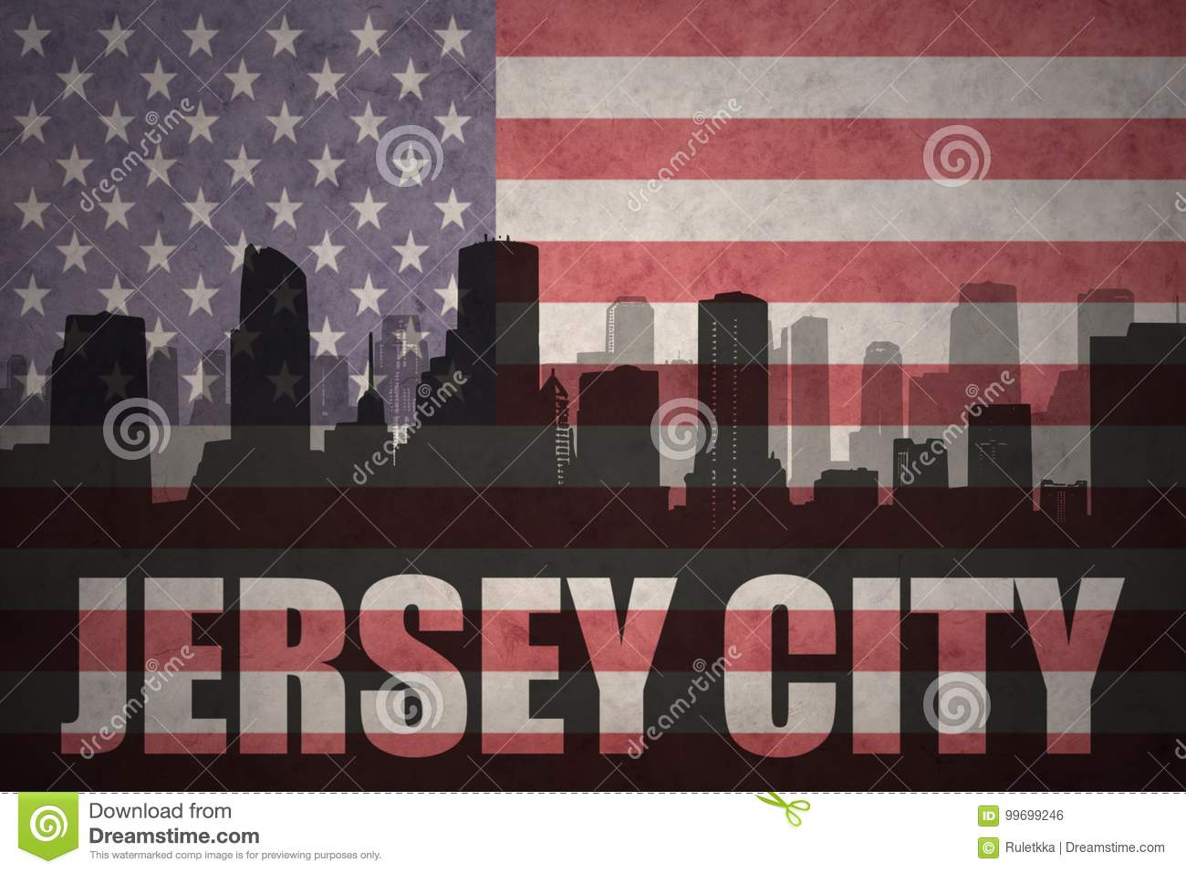 Abstract silhouette of the city with text Jersey City at the vintage american flag