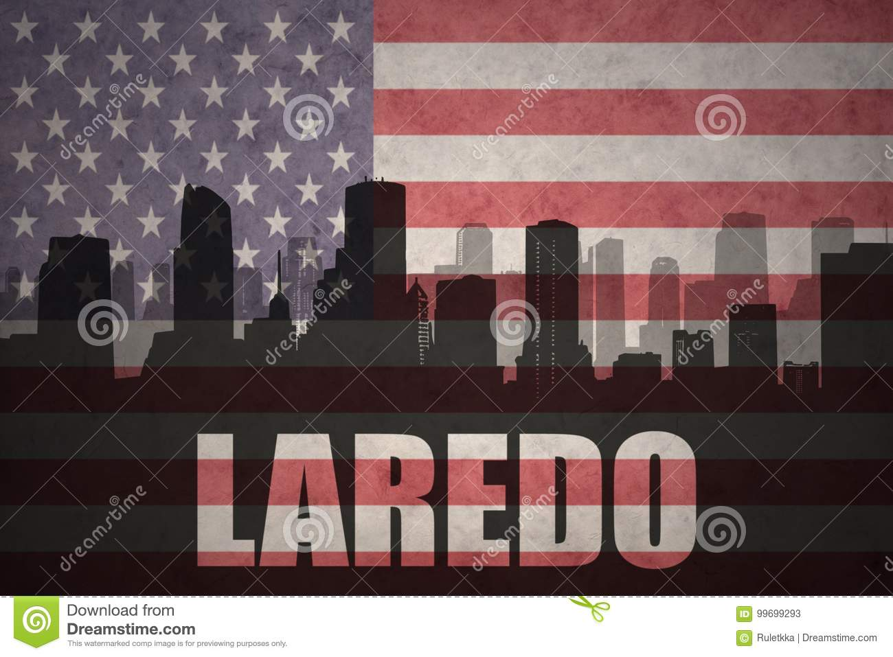 Abstract silhouette of the city with text Laredo at the vintage american flag