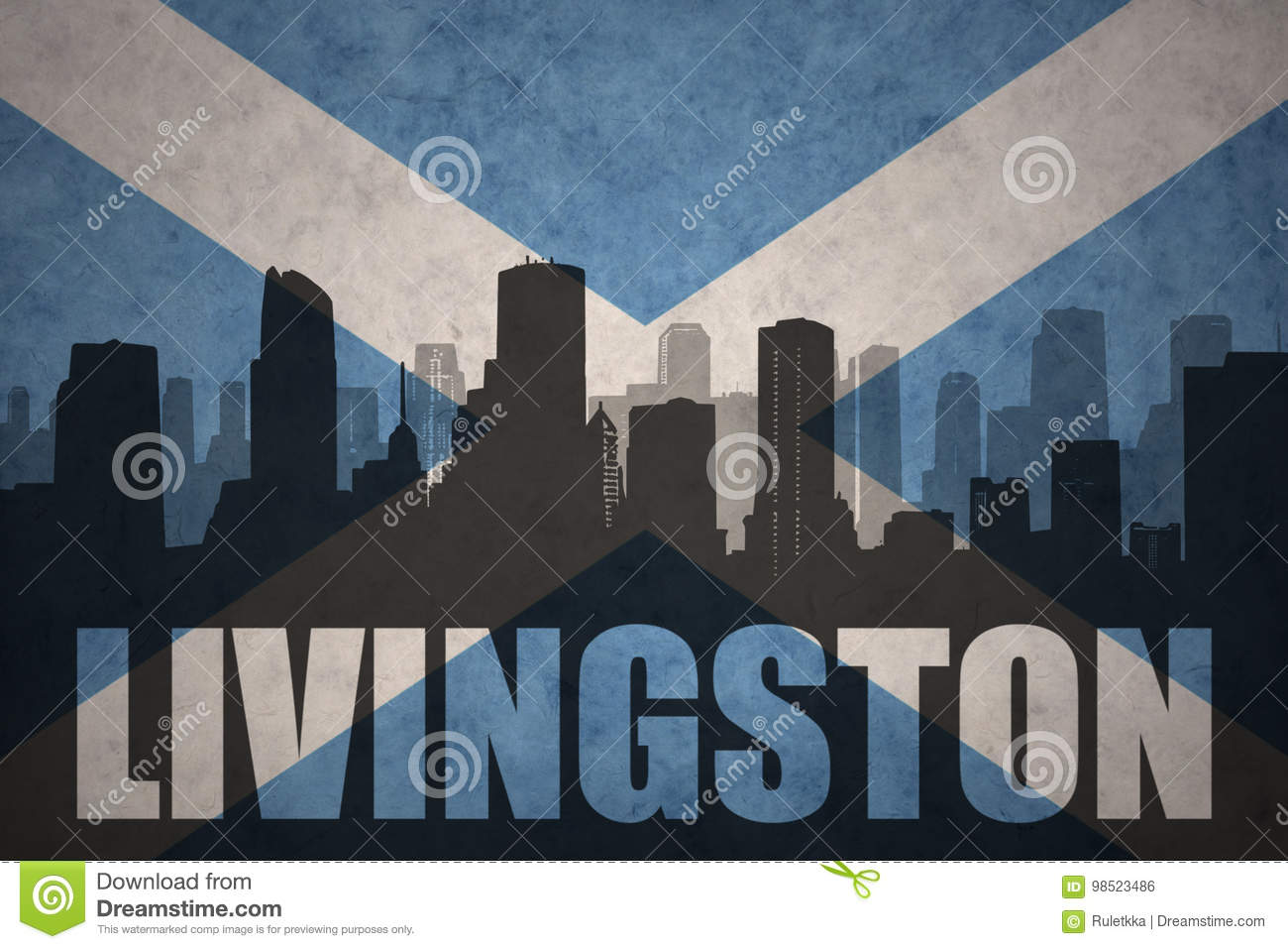 Abstract silhouette of the city with text Livingston at the vintage scotland flag