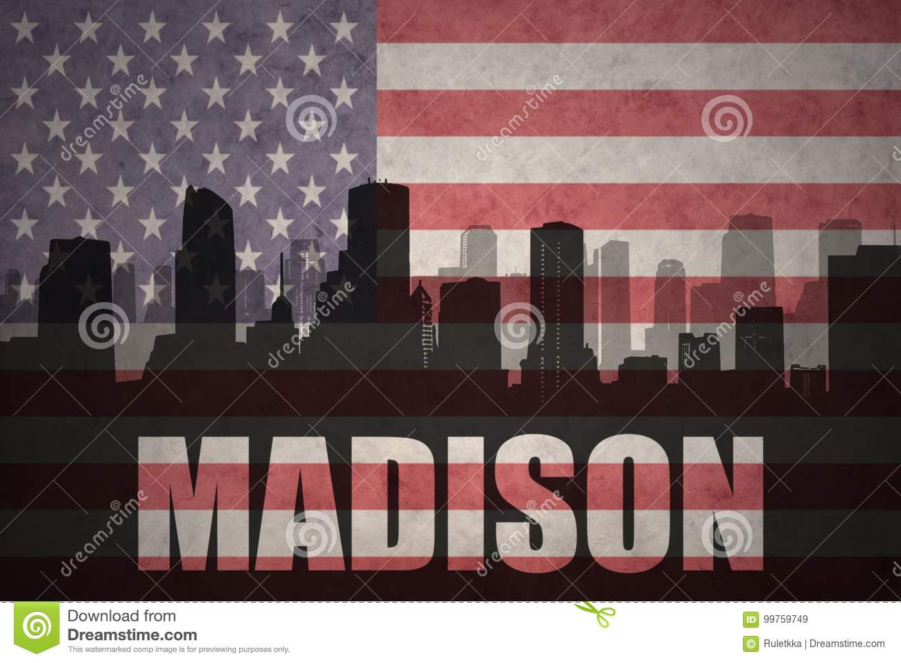 Abstract silhouette of the city with text Madison at the vintage american flag