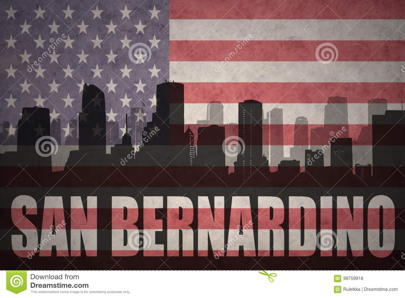 Abstract silhouette of the city with text San Bernardino at the vintage american flag