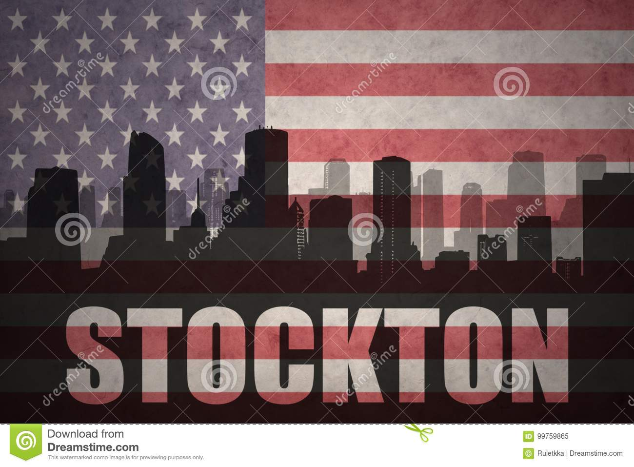 Abstract silhouette of the city with text Stockton at the vintage american flag