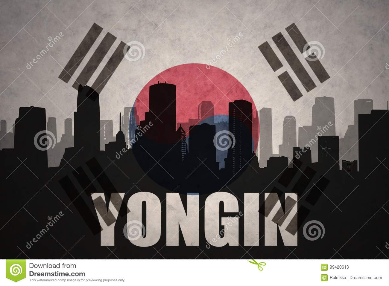 Abstract silhouette of the city with text Yongin at the vintage south korea flag